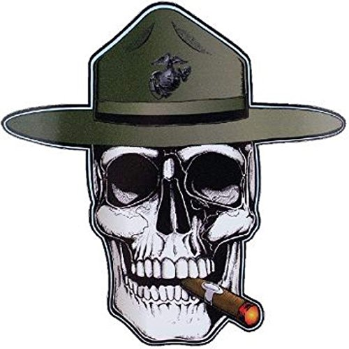 (MFX Design Marine Creed Drill Instructor Skull Bumper Sticker Decal Tool Box Sticker Decal Vinyl - Made in USA 5 in. x 5 in.)
