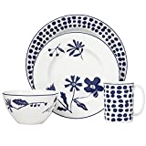 Kate Spade New York Spring Street Cobalt 4-Piece Dinnerware Set, White and Blue Floral Porcelain Review