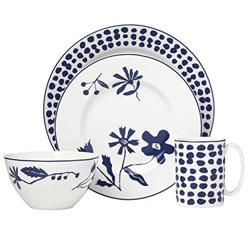 Kate Spade New York Spring Street Cobalt 4-Piece Dinnerware Set, White and Blue Floral Porcelain