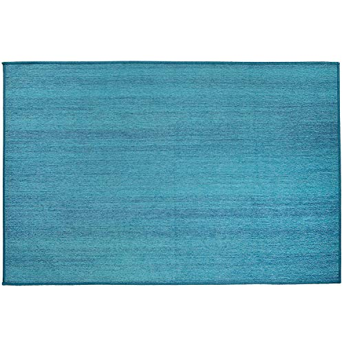RUGGABLE Washable Stain Resistant Indoor/Outdoor, Kids, Pets, and Dog Friendly Accent Rug 3'x5' Solid Textured Ocean ()
