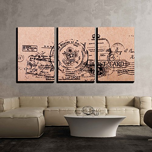 wall26 - 3 Piece Canvas Wall Art - a Back Side Blank Vintage Postcard - Modern Home Decor Stretched and Framed Ready to Hang - 24