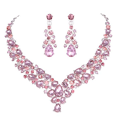 Youfir Austrian Rhinestone Crystal Wedding Gown Prom Ball Necklace Earrings Jewelry Set for Brides Dress (Pink)