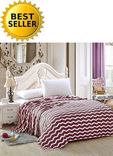 - Elegant Comfort #1 Fleece Blanket on Amazon - Luxury Micro-Fleece Ultra Plush Chevron Pattern - All Season Blanket, King, Burgundy