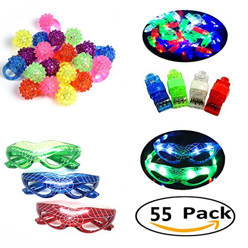 Jofan 55 Pieces LED Light Up Toys Set Party Favors Supplies Assortment Pack for Classroom Prize ¨C 40 LED Finger Lights, 12 LED Flashing Bumpy Rings, 3 LED Spider Glasses