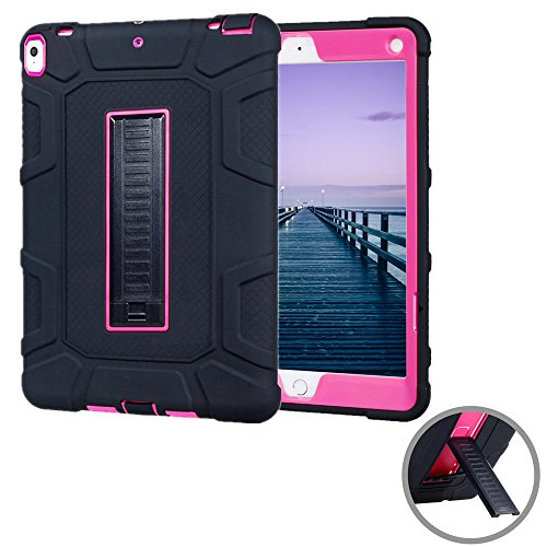 - iPad Pro 10.5 Case, KAMII Shockproof [Kickstand] Drop Protection 3in1 Rugged Hybrid Silicone Skin & PC Plastic Cover with Built in Kickstand for Apple New iPad Pro 10.5 inch 2017 Tablet (Black+Rose)