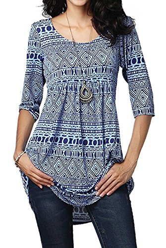 Halife Summer Tunics for Women to Wear with Leggings Plus Size(XL, Blue)