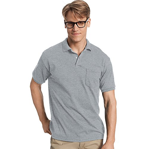 (Hanes Cotton-Blend Jersey Men's Polo with Pocket_Light)