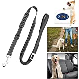 oneisall Dog Seatbelt Leash, 2 in 1 Adjustable Pet Car Safety Seat Belt and Dog Leash with Elastic Nylon Bungee Buffer-Black For Sale