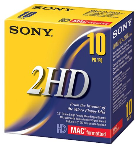 Sony 10MFD2HDCFM 2HD Mac Formatted Floppy Disks (10-Pack) (Discontinued by Manufacturer) by Sony