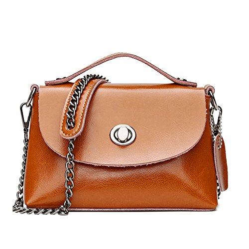 GWQGZ Nueva Moda Retro Bolsos Bolso De Cera De Aceite Brown Brown