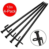 BareFour Tent Stakes, Heavy Duty Camping Stakes 12-Inch - Forged Steel Tent Pegs Unbreakable and Inflexible - Available in Rocky Place Dessert Snowfield and Grassland (Black)