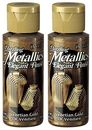 (2-Pack - DecoArt Dazzling Metallics Acrylic Colors - Venetian Gold, 2-Ounces Each)