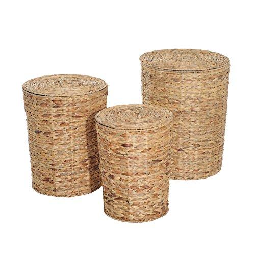 3pc Round Basket Laundry Hamper Storage Bin w/ Lid (Hamper Baskets For Sale)