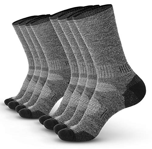 Pembrook Wool Sport Socks - L/XL (4-Pack Gray) - Soft, Warm, Thermal Merino Wool - Technical Cushion and Support Features - Great for hiking, work, skiing, hunting. Sized for Men and Women.