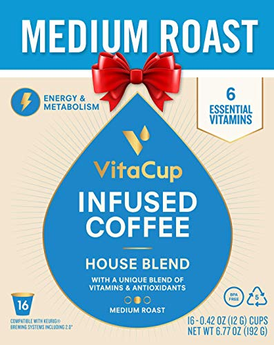 VitaCup Gourmet House 16ct. Top Rated Coffee Cups Infused With Essential Vitamins B12, B9, B6, B5, B1, and D3, Pods Compatible with K-Cup Brewers including Keurig 2.0