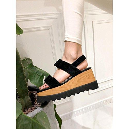 Chaussures à Plateformes Femme WSXY-L0405 Talon Wedge Accessoires d'arc Créatifs Sandal Tongs Pantoufles Mode Creepers Baskets,KJJDE noir