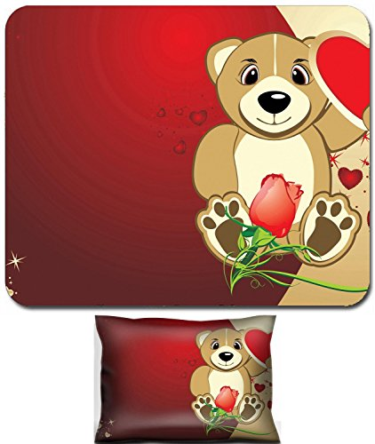 Bruins Heart - Luxlady Mouse Wrist Rest and Small Mousepad Set, 2pc Wrist Support design Bruin with a heart Background for card to the Valentine day Vector IMAGE: 4137360