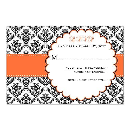 (100 RSVP Response Cards Orange Black Damask Design + Envelopes)