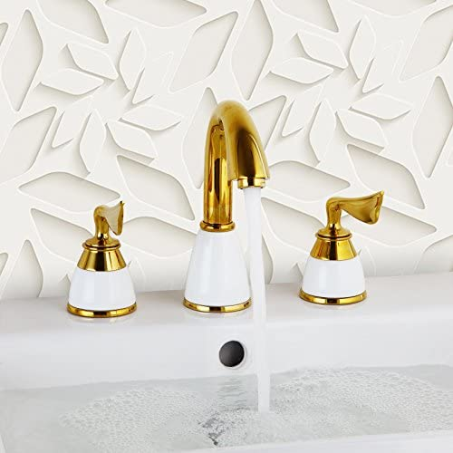 Yanksmart 3 Pcs Widespread Golden Color Tap 2 Handle Waterfall Bathroom Basin Sink Bathtub Mixer Faucet, Chrome Finish Y324U