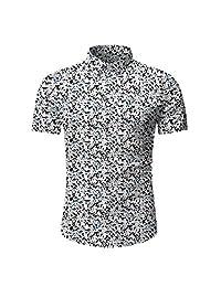 Fashion Holiday Tops for Men,Hawaiian Printed Button Short Sleeve Casual Summer T-Shirt