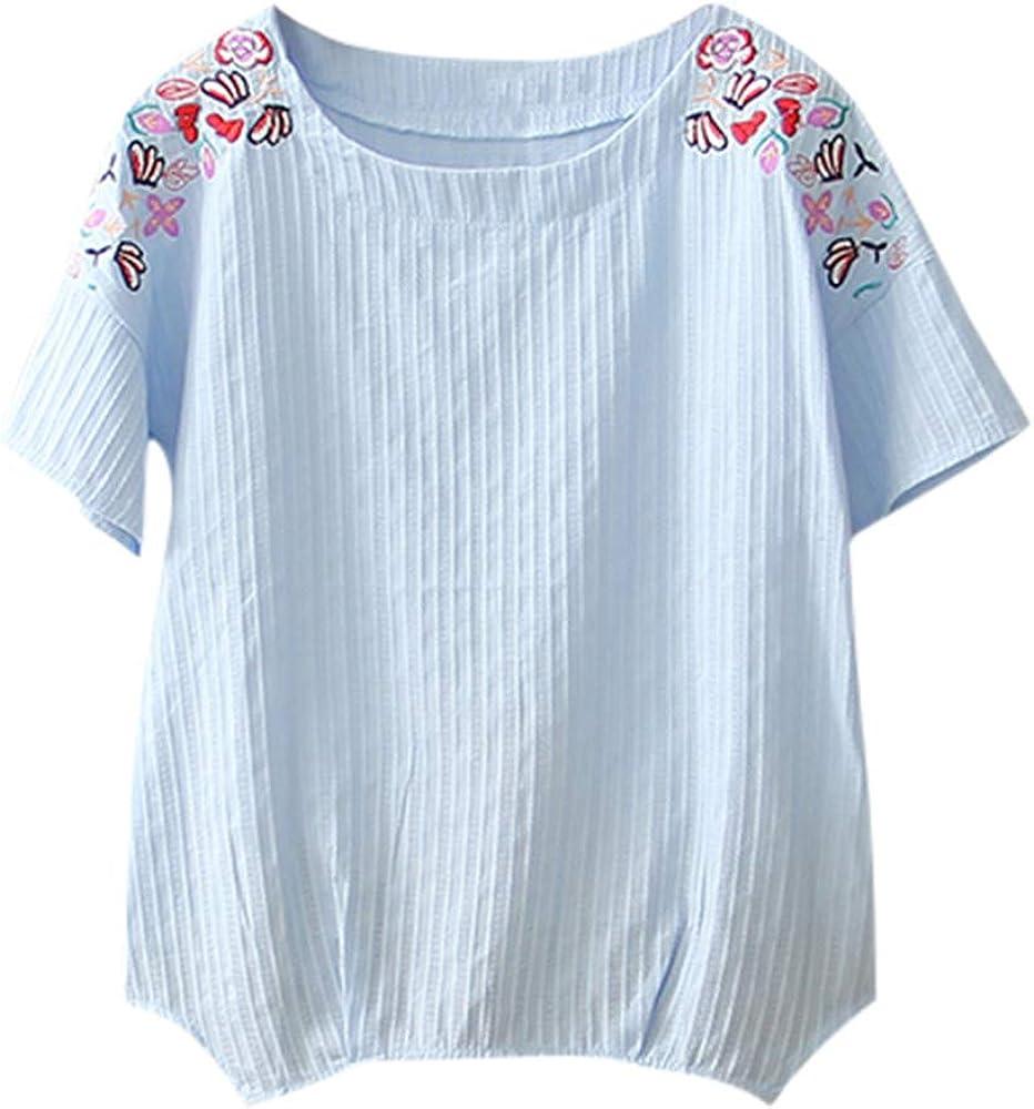 Geilisungren Camisetas Vintage para Mujer Casual Tops Manga Corta Camisetas Verano Cuello Redondo Camisetas Tallas Grandes Bohemio Chaleco Blusas para Mujer Elegantes Fiesta Impresión Pullover: Amazon.es: Ropa y accesorios