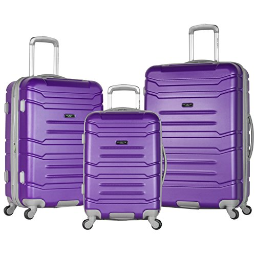 Olympia Denmark 3 Piece Luggage Set, Purple (Olympia 21 Inch Spinner Carry On Suitcase)