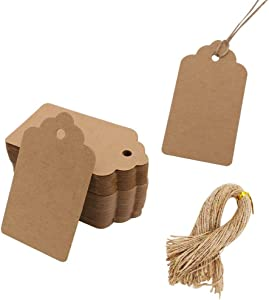 100pcs Kraft Paper Gift Tags with Free 100 Root Natural Jute Twine(Water Ripple)