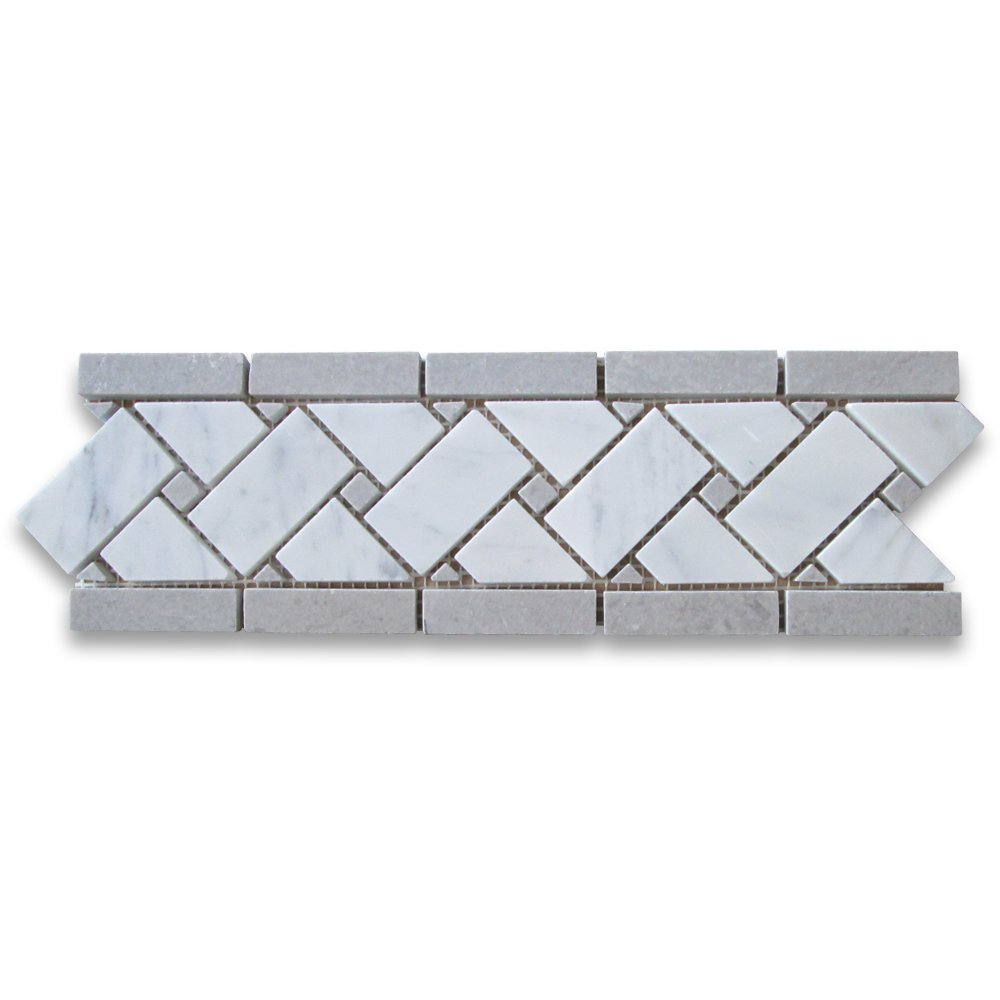 Carrara White Italian Carrera Marble Basketweave Mosaic Border Gray Dots 4 x 12 Honed