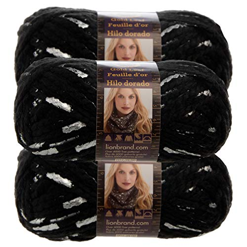 Lion Brand 3 Pack Gold Leaf Acrylic & Wool Soft Black with Silver Foil Yarn for Knitting Crocheting Super Bulky #6