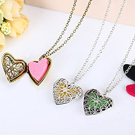 8 Colors Mesh Pads Copper Locket Hollow Heart Pendant Essential Oil Diffuser Necklace Jewelry Gifts for Women Morenitor Heart Diffuser Necklace