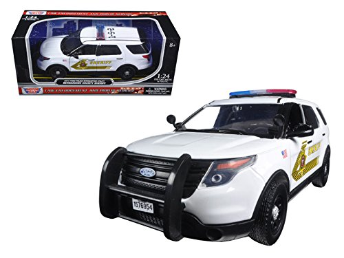 (Motormax 76962 2015 Ford Police Interceptor Utility San Bernardino County Sheriff Car with Light Bar White 1/24 Diecast Model Car)