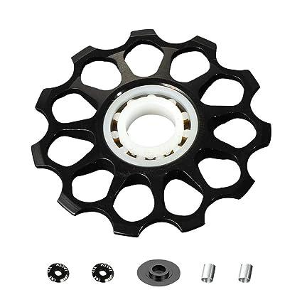 AITOCO - Desviador Trasero para Rueda de Bicicleta (Aluminio, Rueda de guía de cerámica