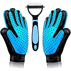 Best Gentle Pet Grooming Gloves Brush Nail Clippers Set - Dog Brushes for Shedding - Short & Long Hair Remover for Pet Fur - Dematting Comb for Dogs, Cats, Horses (Blue)