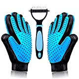 Best Gentle Pet Grooming Gloves Brush Nail Clippers Set - Dog Brushes for Shedding - Short & Long Hair Remover for Pet Fur - Dematting Comb for Dogs - Cats - Horses (Blue)