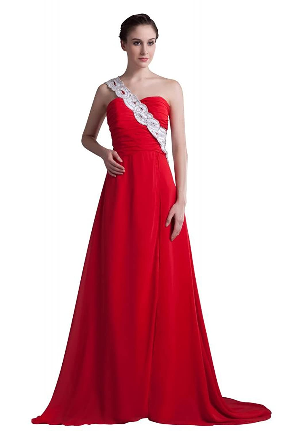 GEORGE DESIGN Beaded One Shoulder Red Pleated Bodice Chiffon Long Evening Dress