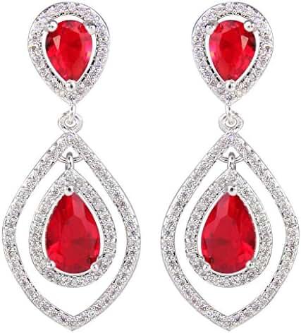 EVER FAITH Women's Cubic Zirconia Hollow-out Leaf Teardrop Dangle Earrings Silver-Tone