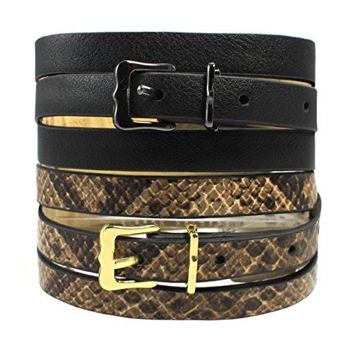 Snake Designer Belt (Style&co. Women's 2 for 1 Skinny Belts, Snake/Solid, Brown & Black)
