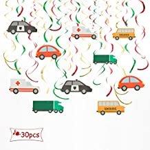 ALEY Cars Hanging Swirl Decorations,Party Decorations Supplies For Kids Boys Birthday And Other Festival Celebration (30 PCS)