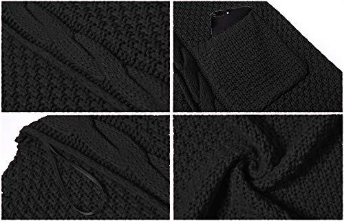 GRECERELLE Women's Loose Open Front Long Sleeve Solid Color Knit Cardigans Sweater Blouses with Packets Black-Small