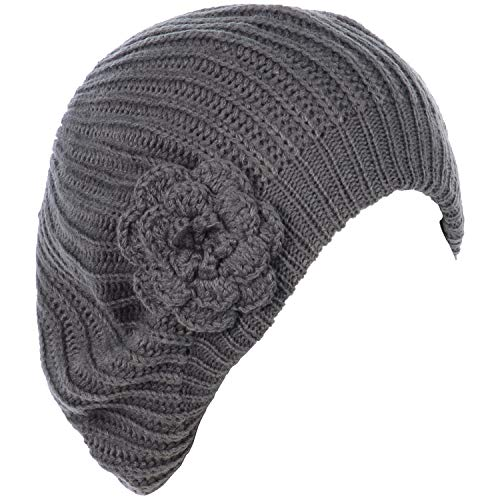 - BYOS Ladies Winter Solid Chic Slouchy Ribbed Crochet Knit Beret Beanie Hat W/WO Flower Adornment, Soft Touch (Gray Flower)