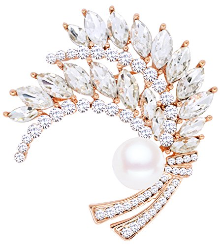 Gyn&Joy Swarovski Element Crystal&Pearl Wheat-Like Brooch Pin for Her Mom Gifts BZ048