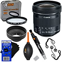 Canon EF-S 10-18mm f/4.5-5.6 IS STM Ultra Wide Zoom Lens for EOS 5D, 6D, 7D, 60D, 70D, 80D, Rebel SL1, T1i, T2i, T3, T3i, T4i, T5, T5i, T6, T6i, & T6s SLR Cameras + 7pc Accessory Kit w/ HeroFiber