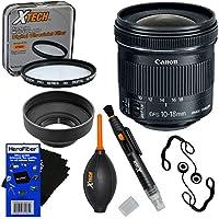 Canon EF-S 10-18mm f/4.5-5.6 IS STM Zoom Lens for EOS 5D, 6D, 7D, 60D, 70D, 80D, Rebel SL1, SL2, T1i, T2i, T3, T3i, T4i, T5, T5i, T6, T6i, T6s,T7 & T7i SLR Cameras + 7pc Accessory Kit w/ HeroFiber