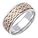 18K Two Tone (Rose and White) Gold Braided Wicker Style Men's Comfort Fit Wedding Band (8mm)