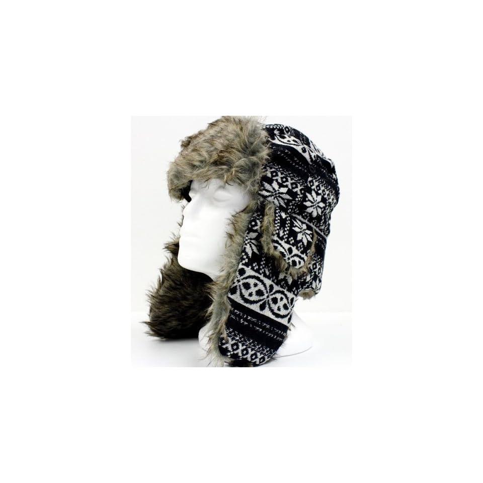 Trooper Hat Black Warm Faux Fur Snow Flake Trapper Aviator Hat for Men and Women
