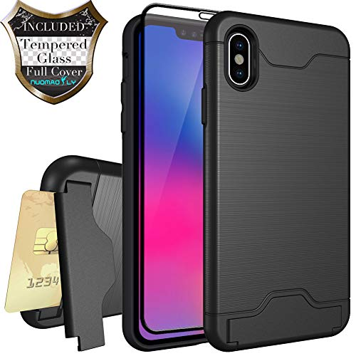 Nuomaofly Case for iPhone Xs Max with Tempered Glass Screen Protector Card Slot Holder Hybrid Kickstand Case for Apple iPhone Xs MAX 6.5 inch 2018 (Black)