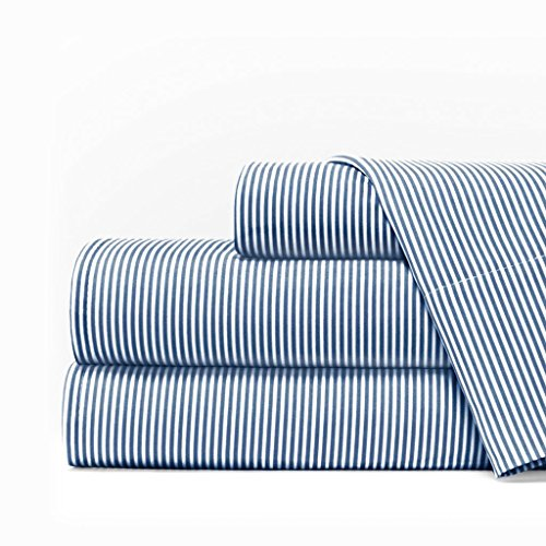 Egyptian Luxury 1600 Series Hotel Collection Pinstripe Pattern Bed Sheet Set - Deep Pockets, Wrinkle and Fade Resistant, Hypoallergenic Sheet and Pillowcase Set - King - Navy/White