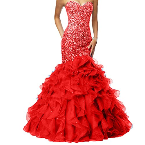 - Crystals Long Mermaid Ruffles Beaded Sweetheart Corset Formal Prom Evening Dresses Red US 2