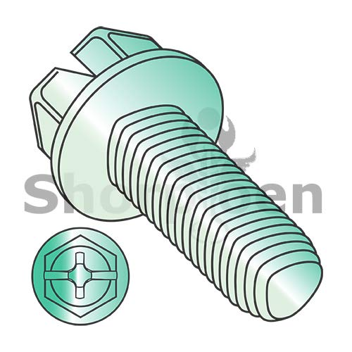 SHORPIOEN Combo Slot/Phil Ind Hexwash Taptite Alternate Thread Roll F/T Zinc Green BakeWax 10-32 x 3/8 BC-1106RCWG (Box of 3000)