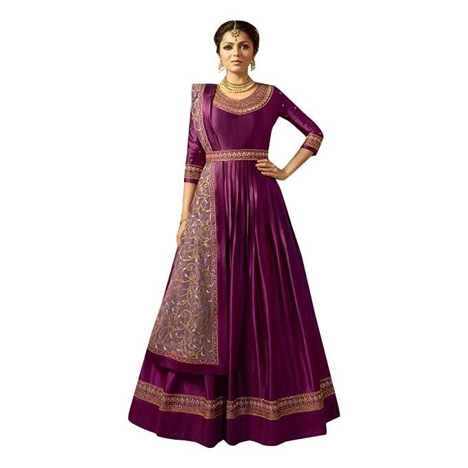 Amazon.com: Vestido largo de Anarkali de satén color morado ...